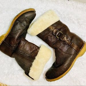 {FRYE} 77528 Brown Shearling Mid Calf Boot